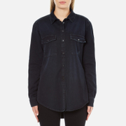 MSGM Women's Logo Back Oversized Denim Shirt - Black