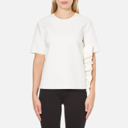 MSGM Women's Side Ruffle Short Sleeve Top - White