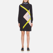 MSGM Women's High Neck Long Sleeve Dress with Contrast Diamond Print - Black