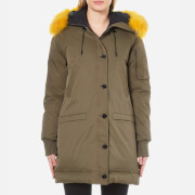 KENZO Women's Removable Yellow Fur Lined Long Parka - Darker Khaki
