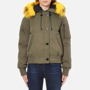 KENZO Women's Removable Yellow Fur Lined Short Parka - Dark Khaki