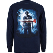 Uncharted 4 Men's Cover Logo Long Sleeve Top - Navy