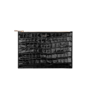 Aspinal of London Women's Essential Large Flat Croc Pouch - Black Croc
