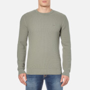 GANT Men's Texture Cotton Crew Neck Knitted Jumper - Agave Green