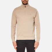 GANT Men's Sacker Rib Half Zip Top - Noisette