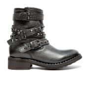 Ash Women's Sonic Leather Biker Boots - Black/Black