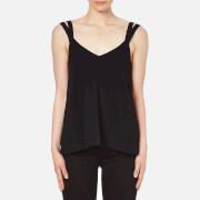 Helmut Lang Women's High Twist Crepe Double Strap Top - Black