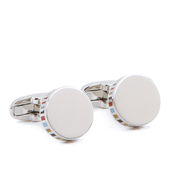 Paul Smith Accessories Men's Stripe Edged Cufflinks - Silver