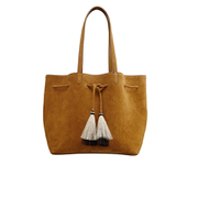 Loeffler Randall Women's Suede Drawstring Tote Bag - Sienna/Natural Black