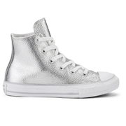 Converse Kids' Chuck Taylor All Star Metallic Leather Hi-Top Trainers - Pure Silver/White/White