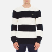Lacoste Men's Crew Neck Stripe Sweatshirt - Navy Blue/Flour