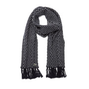Lacoste L!ve Men's Ribbed Scarf - Navy Blue/White