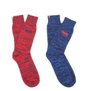 Superdry Men's Big S Dry Hkr Double Pack Socks - Red Slub/Nautical Navy Slub