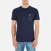 Lyle & Scott Men's Crew Neck Woven Check Pocket T-Shirt - Navy