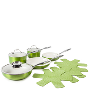 Tower Pro Metallic Pan Set - Green (9 Piece)