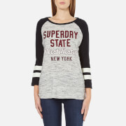 Superdry Women's Football Applique Top - Canyon Grey Marl/Black