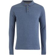 Brave Soul Men's Lincoln Long Sleeve Polo Shirt - Vintage Blue Marl