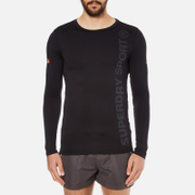 Superdry Men's Gym Sport Runner Long Sleeve Top - Black