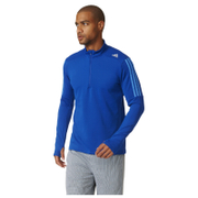 adidas Men's Response 1/4 Zip Long Sleeve Running T-Shirt - Blue