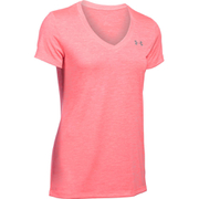 Under Armour Women's Twist Tech V Neck T-Shirt - Brilliant Pink/Metallic Silver