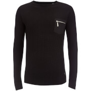 Brave Soul Men's Vulcan Rib Patch and Pocket Jumper - Charcoal
