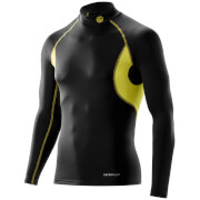 Skins Carbonyte Men's Thermal Long Sleeve Mock Neck Baselayer - Black/Yellow