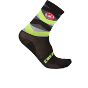 Castelli Fatto 12 Cycling Socks - Black/ Yellow Fluro