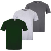 Varsity Team Players Men's T-Shirt 3 Pack - Green/Grey/Charcoal