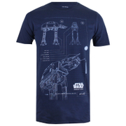 Star Wars Rogue One Men's AT-AT Schematic T-Shirt - Navy