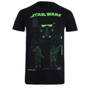 Star Wars: Rogue One Mens Death Trooper Schematic T-Shirt - Zwart