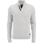 Threadbare Men's Tanner Button Neck Jumper - Winter White