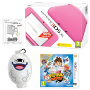 Nintendo 3DS XL Pink + YO-KAI WATCH + YO-KAI WATCH Whisper Multi Case