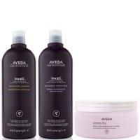 Aveda Invati Shampoo and Conditioner 1000ml with Stress Fix Body Cream