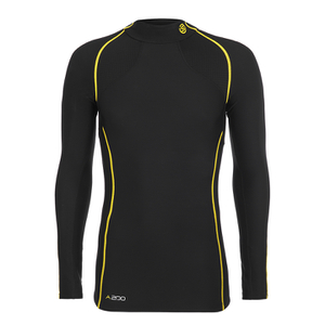 Skins Men's A200 Thermal Long Sleeve Compression Mock Neck Top - Black/Yellow