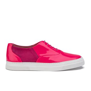 Folk Women's Isa Patent Leather/Suede Plimsoll Trainers - Fluro Pink