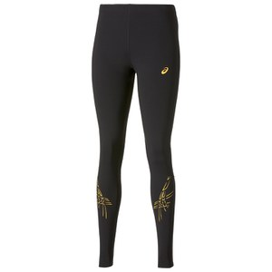 Asics Women's Tiger Stripe Running Tights - Black/Fizzy Peach