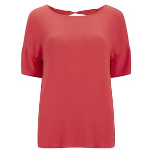 VILA Women's Tara Top - Hot Coral