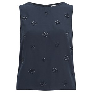 Vero Moda Women's Pleasure Diamond Detail Top - Black Iris
