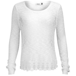ONLY Women's Vanessa Lace Detail Knitted Jumper - Cloud Dancer