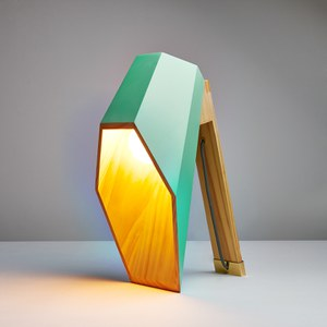 Seletti 'Woodspot' Wooden Table Lamp - Green
