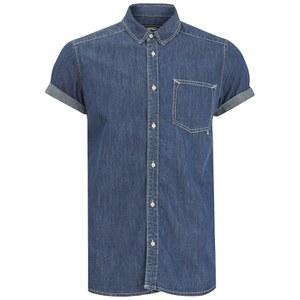 WeSC Men's Eric Short Sleeved Shirt - Simply Blue