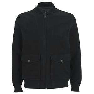 Knutsford Men's 'Made in England' Moleskin Zip-Through Bomber Jacket - Black Moleskin