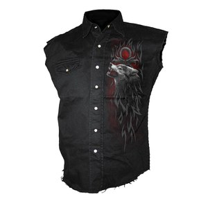 Spiral Men's LEGEND OF THE WOLVES Sleeveless Stone Washed Worker Shirt - Black