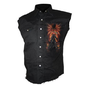 Spiral Men's FLAMING DEATH Sleeveless Stone Washed Worker Shirt - Black