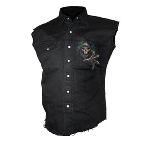 Spiral Men's FOREST REAPER Sleeveless Stone Washed Worker Shirt - Black