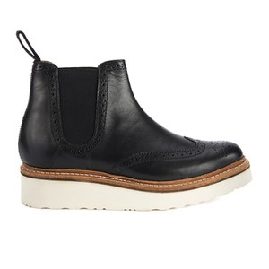 Grenson Women's Alice Brogue Leather Chelsea Boots - Black Calf