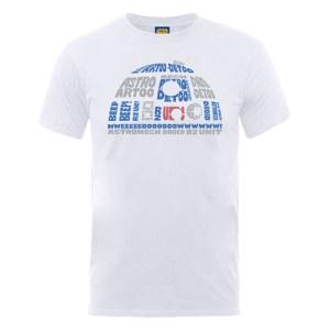 Star Wars Men's R2-D2 Text Head T-Shirt - White