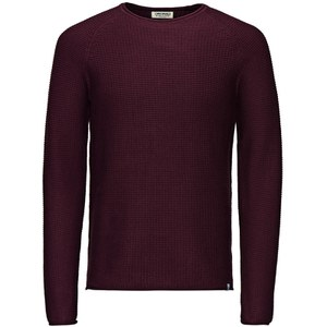 Jack & Jones Men's Originals Paul Knitted Crew Neck Jumper - Burgundy