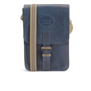 Tricker's Men's Small Leather Satchel Bag - Navy Cavalier