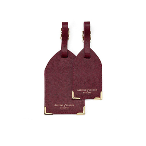 Aspinal of London Set of 2 Luggage Tags - Burgundy Saffiano